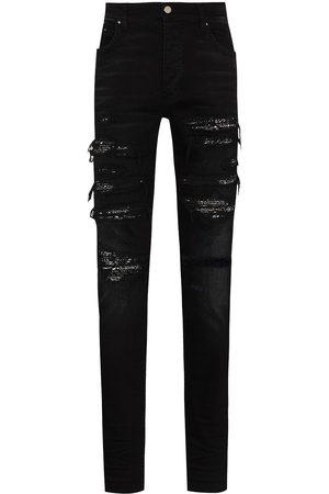 AMIRI Bandana-layer skinny jeans