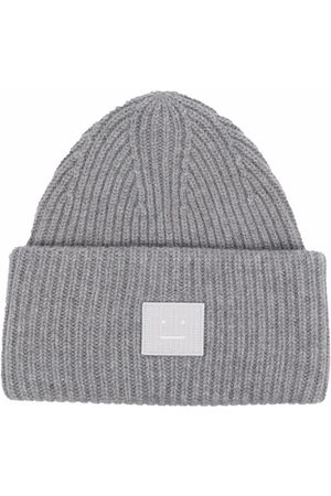 Acne Studios Face wool beanie - Grey