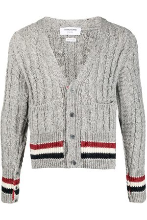 Thom Browne Men Cardigans - Striped cable-knit cardigan - Grey