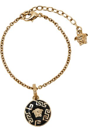 VERSACE Black Medusa Charm Tone Chain Bracelet