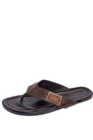 LOUIS VUITTON Men Flat Shoes - Damier Leather Thong Flats Size 45