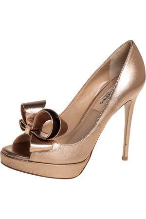 VALENTINO Metallic Bronze Leather Couture Bow Peep Toe Platform Pumps Size 36.5