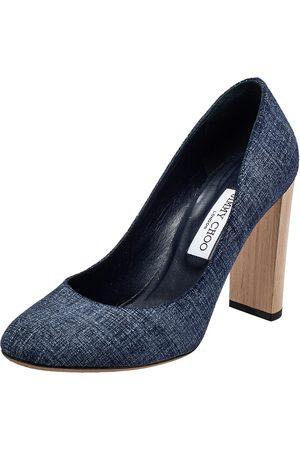 Jimmy Choo Denim Laria Block Heel Pumps Size 40