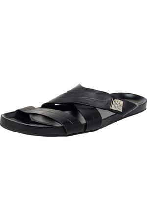 LOUIS VUITTON Leather Criss Cross Strap Flat Slide Sandals Size 43.5