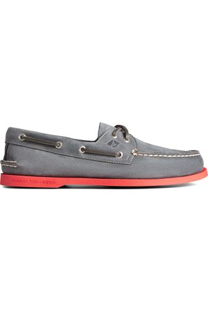 Sperry Top-Sider Men Loafers - Men's Sperry Authentic Original 2-Eye Color Sole Boat Shoe Grey/ , Size 7M