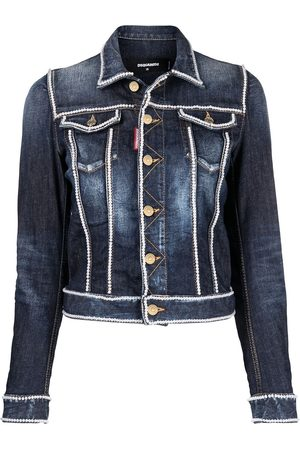 Dsquared2 Women Denim Jackets - Beaded-trim denim jacket