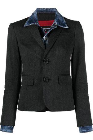 Dsquared2 Women Blazers - Denim-layer wool blazer - Grey