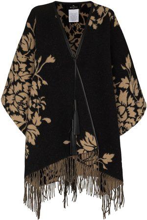 Etro Leaf-pattern fringed cape