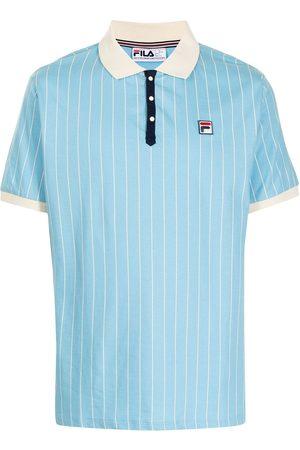 Fila Men Polo Shirts - Pinstripe logo-patch polo shirt
