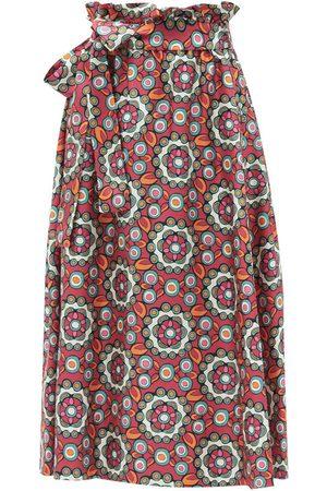 La DoubleJ Sardegna Kaleidoscope Fuxia-print silk midi skirt