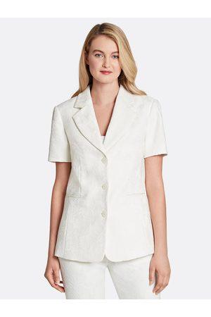 Tahari ASL Women Jackets - Floral Jacquard Short-Sleeve Jacket Ivory Size: 10
