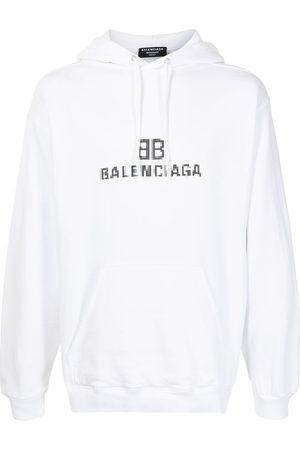 Balenciaga Men Hoodies - Pixel logo-print drawstring hoodie