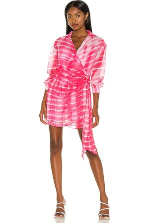 h:ours Jaqi Wrap Dress in Fuchsia.