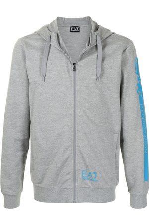 EA7 Men Hoodies - Logo-print zipped hoodie - Grey