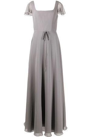 Marchesa Notte Flutter-sleeve bridesmaid gown - Grey
