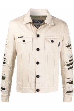 Philipp Plein Ripped camouflage denim jacket - Neutrals