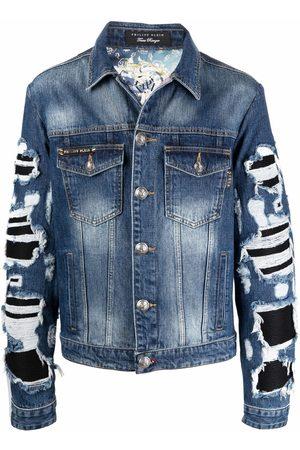 Philipp Plein Men Denim Jackets - Baroque-print denim jacket