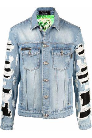 Philipp Plein Tropical-print distressed-effect denim jacket