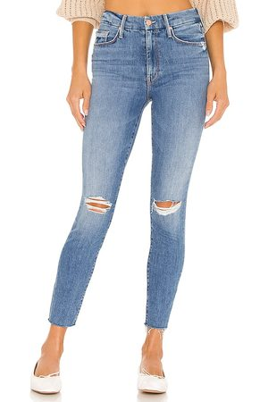 Mother Women Skinny - The Looker Ankle Fray in Blue.