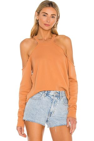 Lovers + Friends Cropped Crewneck With Cold Shoulder in Tan.