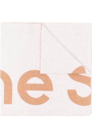 Acne Studios Scarves - Oversized jacquard logo scarf - Neutrals
