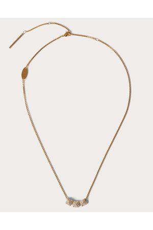 VALENTINO GARAVANI Women Necklaces - Rockstud Metal And Swarovski® Crystal Necklace. Women Brass 100% OneSize