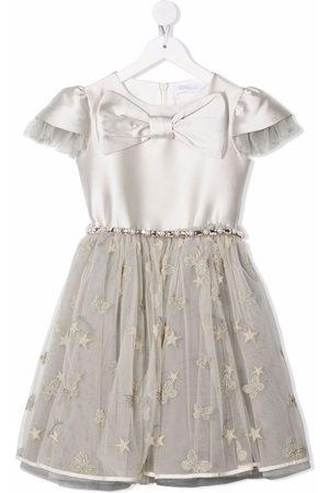 Monnalisa Bow-embellished tulle dress - Grey