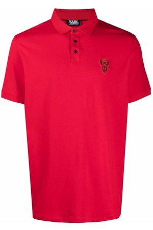 Karl Lagerfeld Men Polo Shirts - Logo-appliqué piqué polo shirt