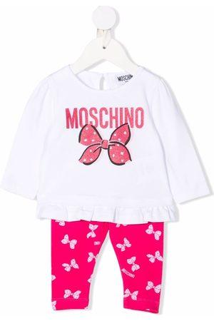 Moschino Glitter-detail logo trouser set