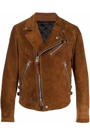 Tom Ford Men Leather Jackets - Double-breasted biker jacket