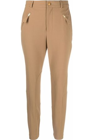 Boutique Moschino Slim-fit equestrian-detail trousers - Neutrals