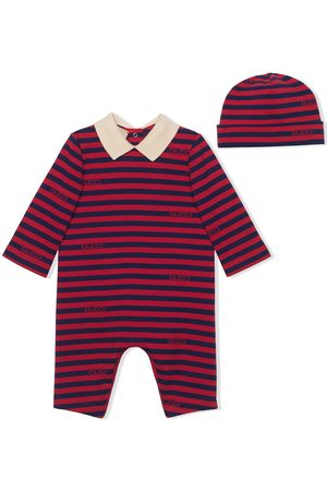 Gucci Kids Striped romper and hat gift set