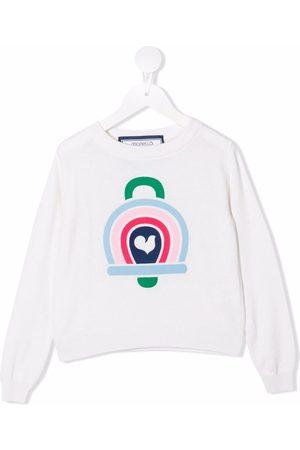 Simonetta Girls Sweaters - Graphic intarsia rib-trimmed jumper