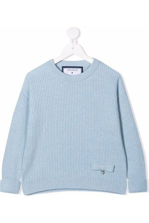 Simonetta Girls Sweaters - Bow-embellished ribbed-knit jumper