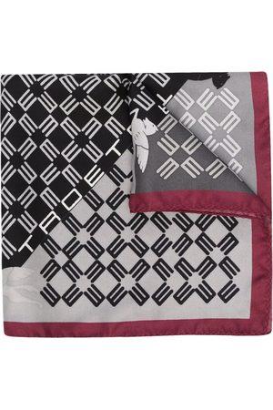 Etro Men Scarves - Monogram-print silk scarf - Grey