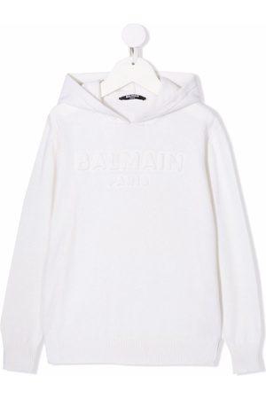 Balmain Logo-print knitted hoodie - Neutrals