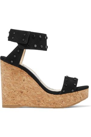 JIMMY CHOO Women Heeled Sandals - Woman Nelly 120 Studded Suede Wedge Sandals Size 35