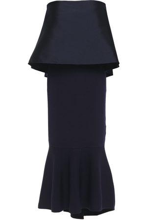 Sachin & Babi Woman Strapless Layered Duchesse-satin And Ribbed-knit Midi Dress Midnight Size S