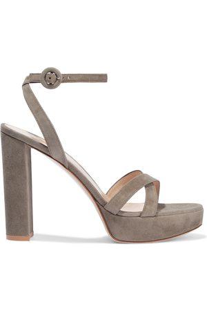 Gianvito Rossi Women Platform Sandals - Woman Poppy 100 Suede Platform Sandals Size 35