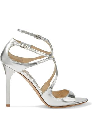 Jimmy Choo Women Heeled Sandals - Woman Lang 100 Mirrored-leather Sandals Size 35