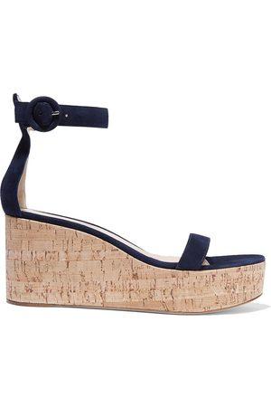 Gianvito Rossi Woman Portofino 45 Suede Wedge Sandals Navy Size 41