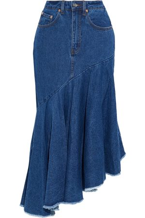 Solace Women Midi Skirts - Woman Noe Asymmetric Frayed Denim Midi Skirt Mid Denim Size 10