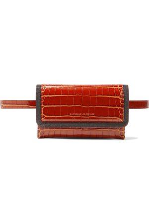 BRUNELLO CUCINELLI Woman Bead-embellished Croc-effect Leather Belt Bag Brick Size