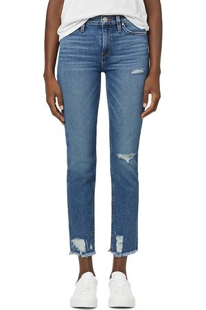 Hudson Nico Mid Rise Ankle Straight Leg Jeans in Seaglass