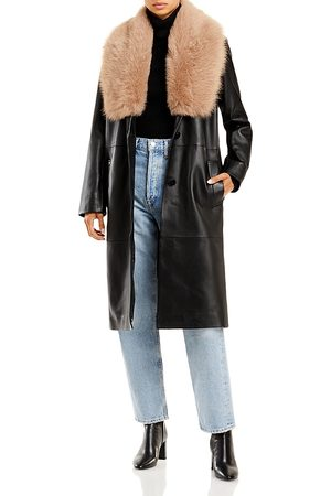 Nour Hammour Women Trench Coats - Star Is Born Shearling Collar Leather Trench Coat