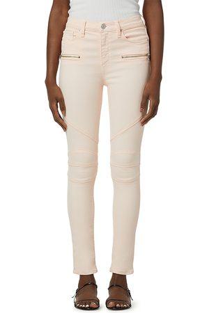 Hudson Barbara High Rise Ankle Super Skinny Moto Jeans in Pearl Blush
