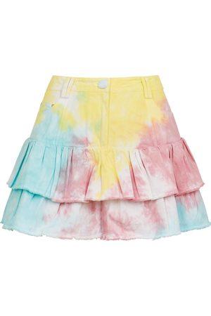 LOVESHACKFANCY Landen tie-dye ruffled denim mini skirt