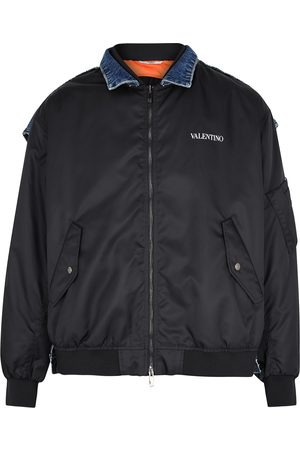 VALENTINO Panelled denim and shell jacket