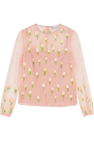 RED Valentino Light floral-embroidered point d'esprit top