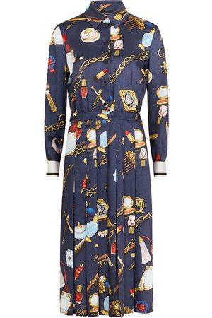 Moschino Navy printed satin shirt dress